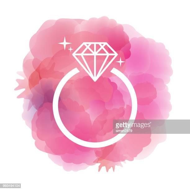 60点のダイヤモンドの指輪のイラスト素材クリップアート素材マンガ