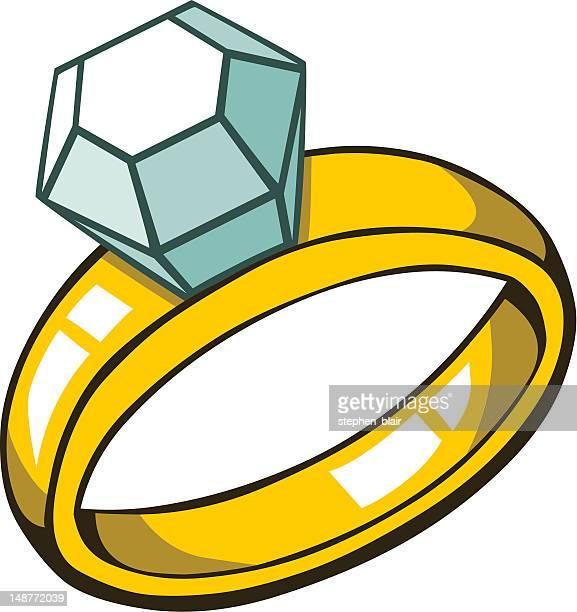 ilustraciones, imágenes clip art, dibujos animados e iconos de stock de anillo de diamante - anillo de compromiso