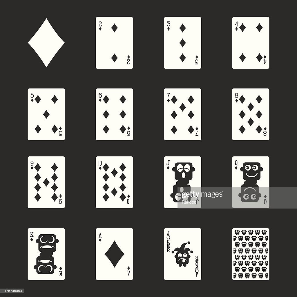 Diamond Suit Playing Card Icons - White Series | EPS10