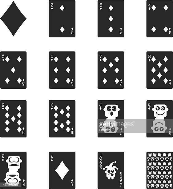 Diamant Anzug Spielkarte Silhouette Icons