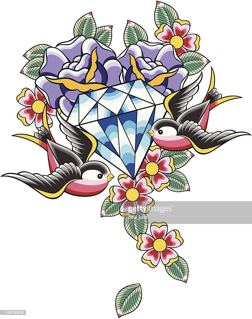 diamond tattoo with flower and bird
