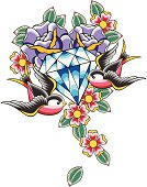 diamond tattoo with flower and bird