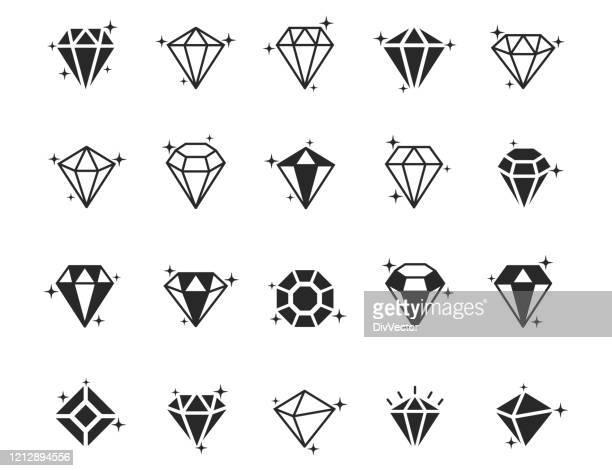 illustrations, cliparts, dessins animés et icônes de ensemble d'icônes de vecteur de diamant - diamant