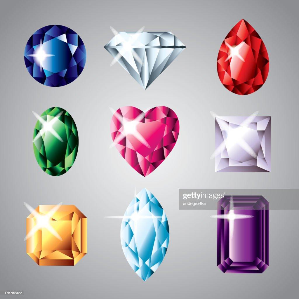 diamonds and gemstones set