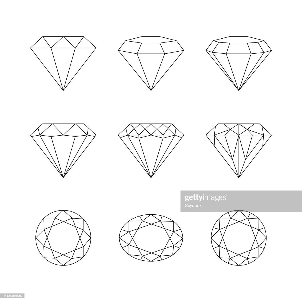 Diamonds, gemstones faceting vector patterns on a white backgrou