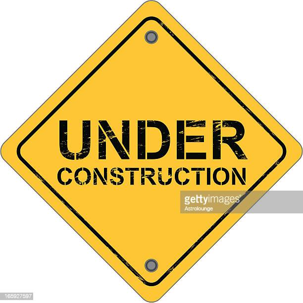 diamond-shaped work sign that reads under construction  - foundation stock illustrations, clip art, cartoons, & icons