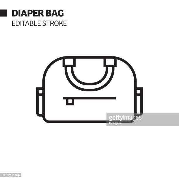 diaper bag line icon, outline vector symbol illustration. pixel perfect, editable stroke. - diaper bag stock illustrations