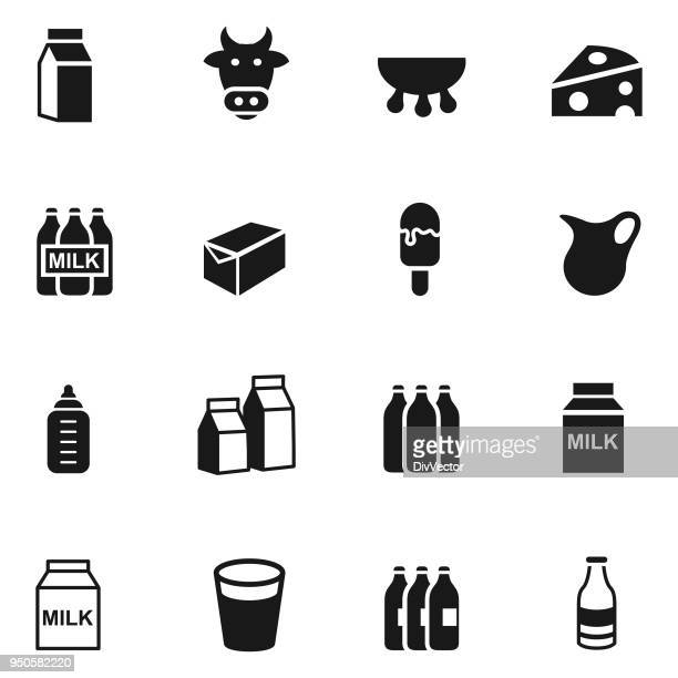 diary products icon set - calcium stock illustrations, clip art, cartoons, & icons