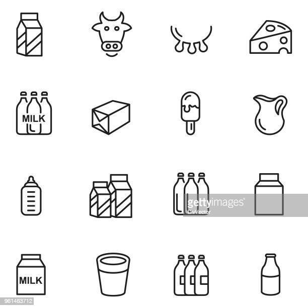 Diary products icon set