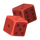 Dice for games in the casino. Stones to throw on the table for good luck.Kasino single icon in cartoon style vector symbol stock illustration.