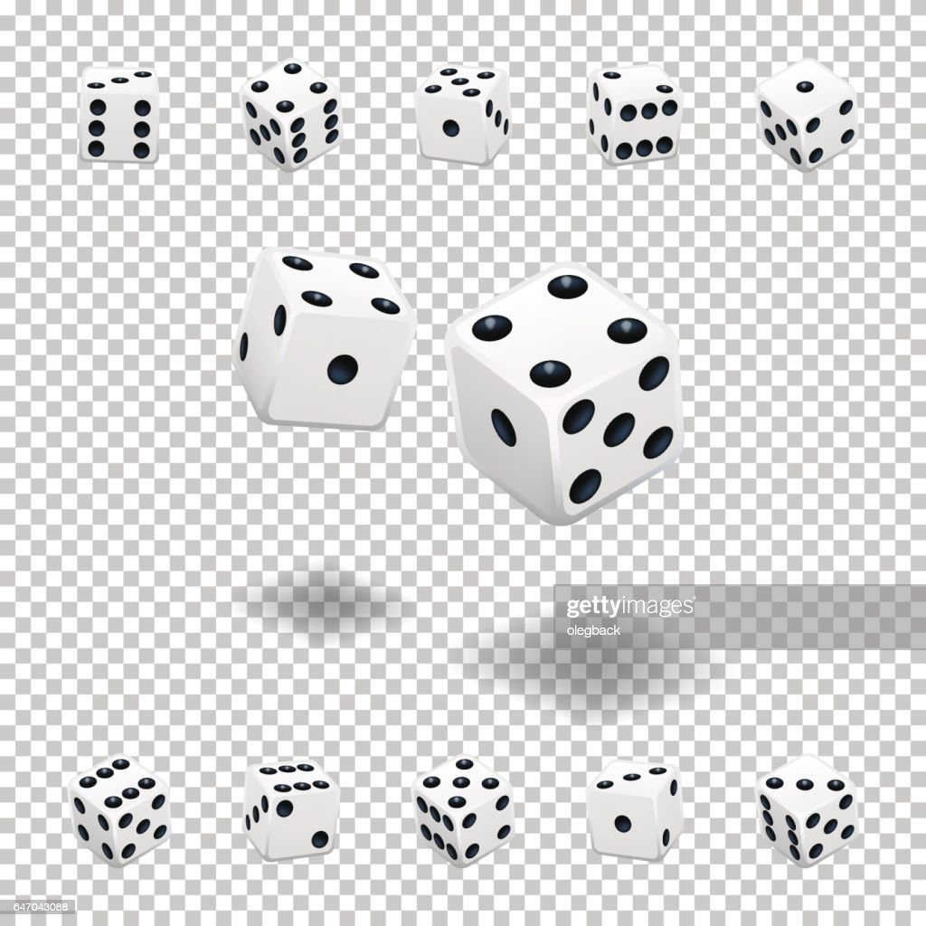 Dice gambling. White cubes in different positions on transparent background.
