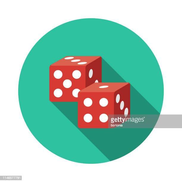 ilustraciones, imágenes clip art, dibujos animados e iconos de stock de juego de dados icono de diseño plano - jugar a juegos de azar
