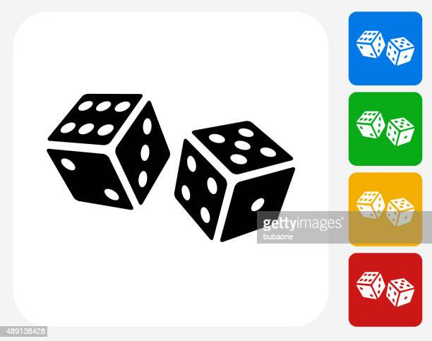 dice icon flat graphic design - poker card game stock illustrations