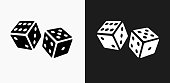 Dice Icon on Black and White Vector Backgrounds