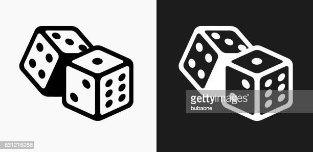 dice icon on black and white vector backgrounds - dice stock illustrations