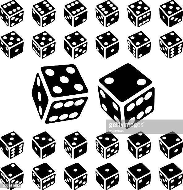 dice icon set - dice stock illustrations