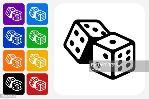 dice icon square button set - dice stock illustrations