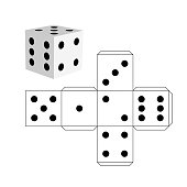 Dice template - model of a white cube