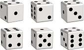 Dice white set in 3D view