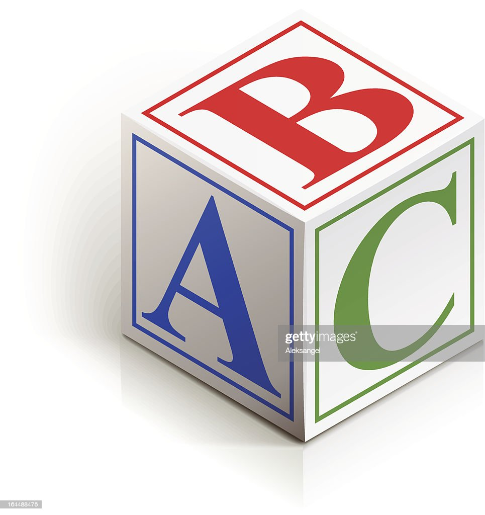 A dice with the letters a, b and c in different colors