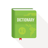 Dictionary book cover icon design. Flat style Vector illustration