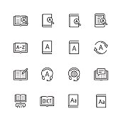 Dictionary, vocabulary book icon set in thin line style