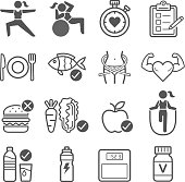 Diet and exercise icons.