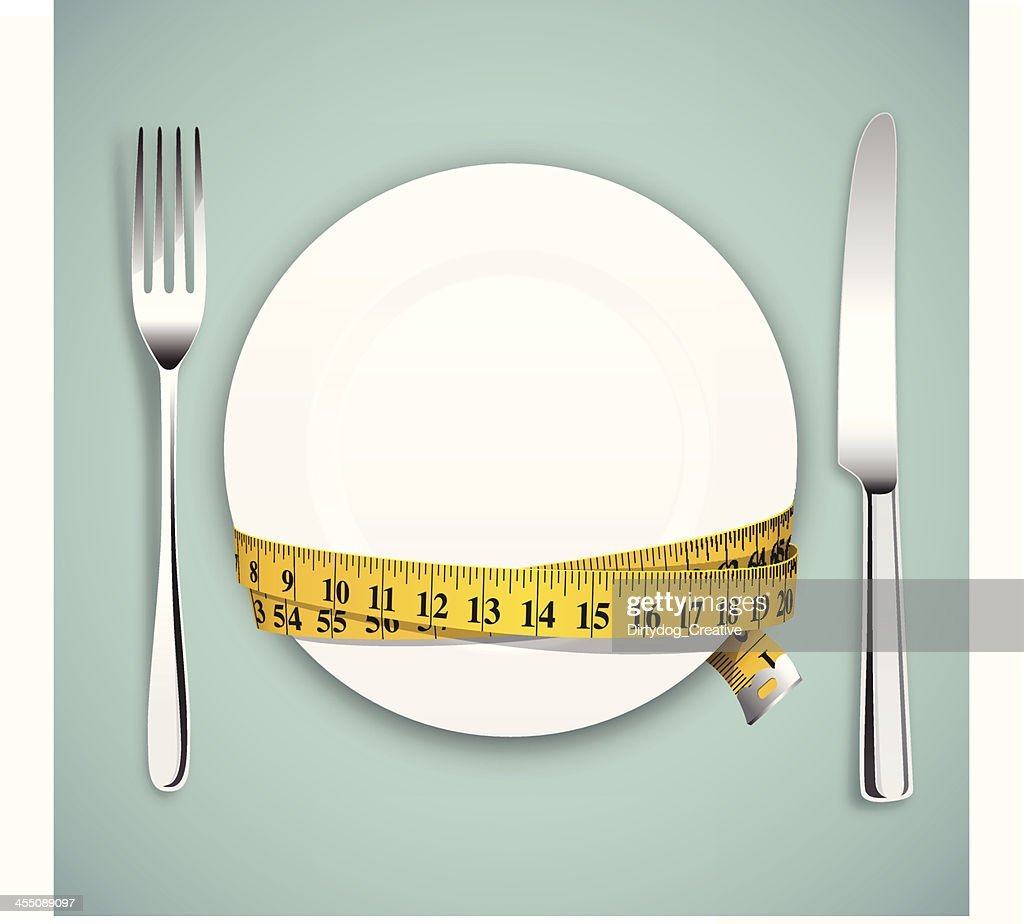 Diet concept, empty plate, tape measure with knife and fork : Vector Art