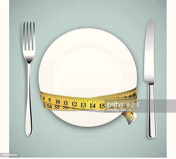 diet concept, empty plate, tape measure with knife and fork - dieting stock illustrations, clip art, cartoons, & icons