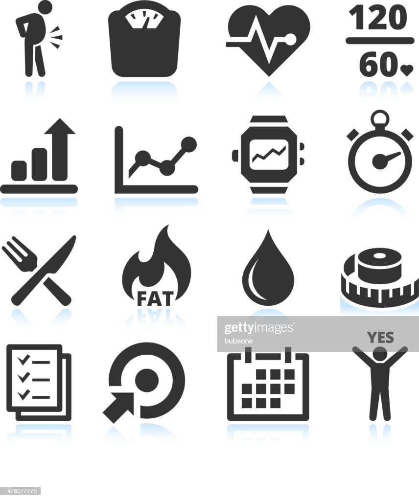 Diet exercise and healthy Lifestyle vector icon set