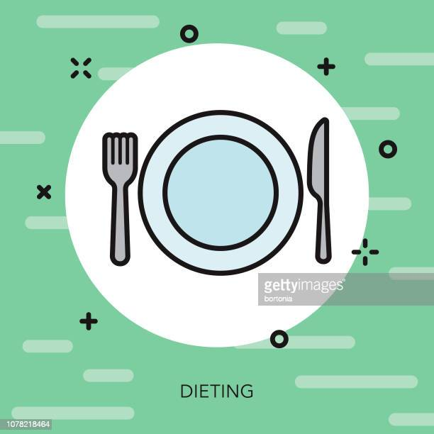 dieting weight loss thin line icon - fasting activity stock illustrations, clip art, cartoons, & icons