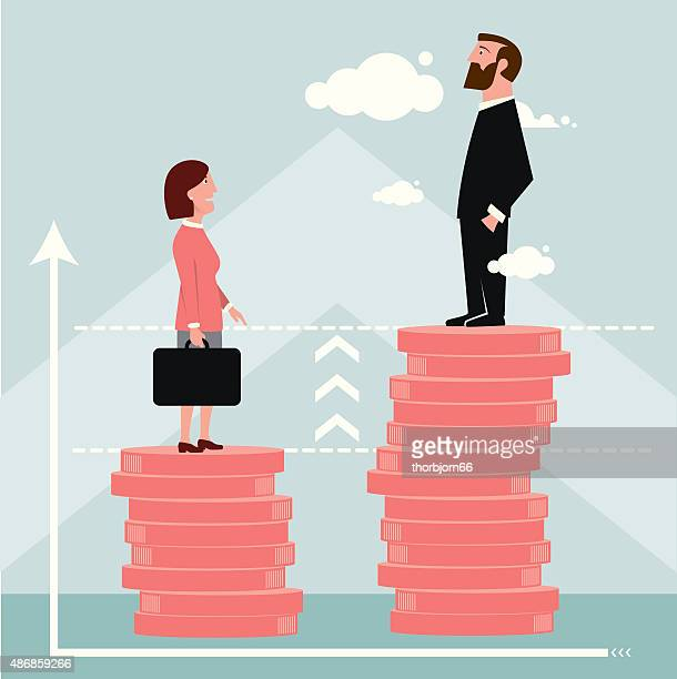 difference in salary graph - wage gap stock illustrations