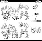 differences game with bugs group coloring book