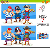 differences game with pirate characters