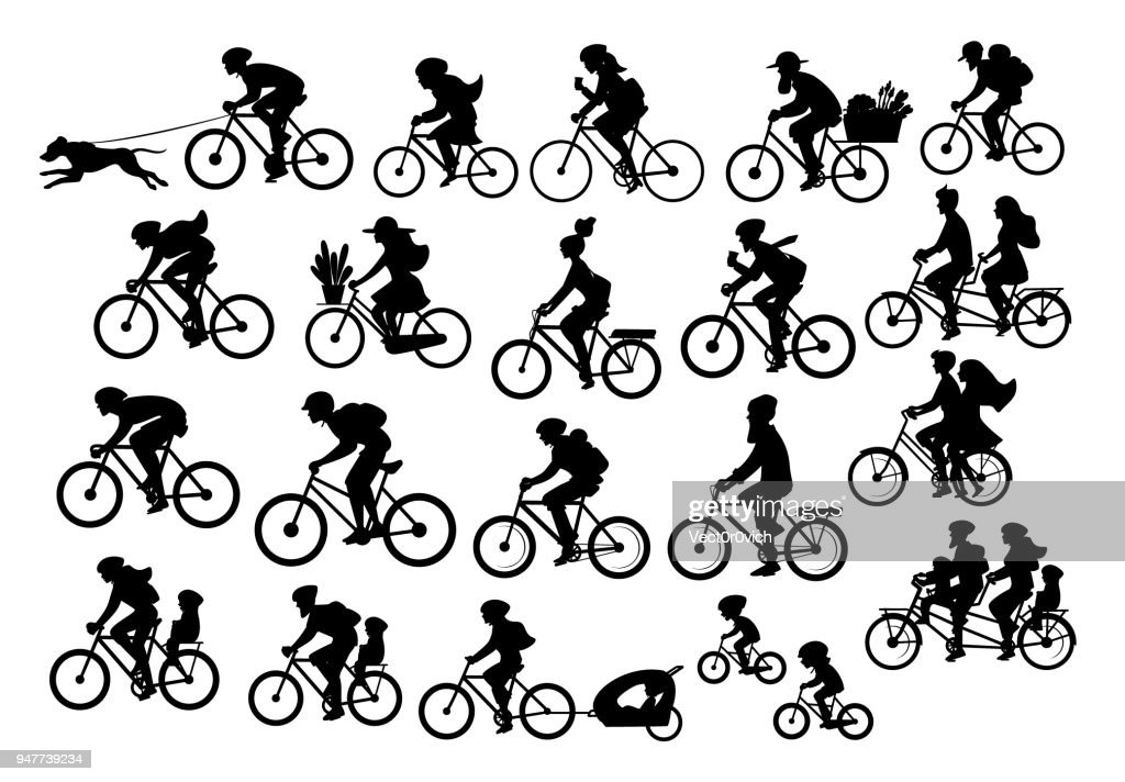 different active people riding bikes silhouettes collection, man woman couples family friends children cycling
