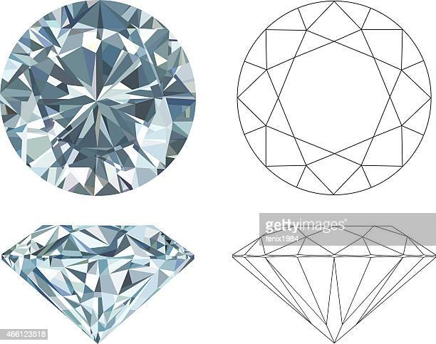 Different angles of a diamond in color and black and white