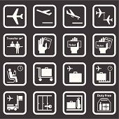 16 different black and white airport icons