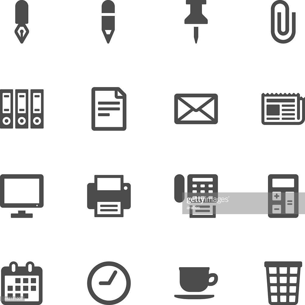 16 different black office icons