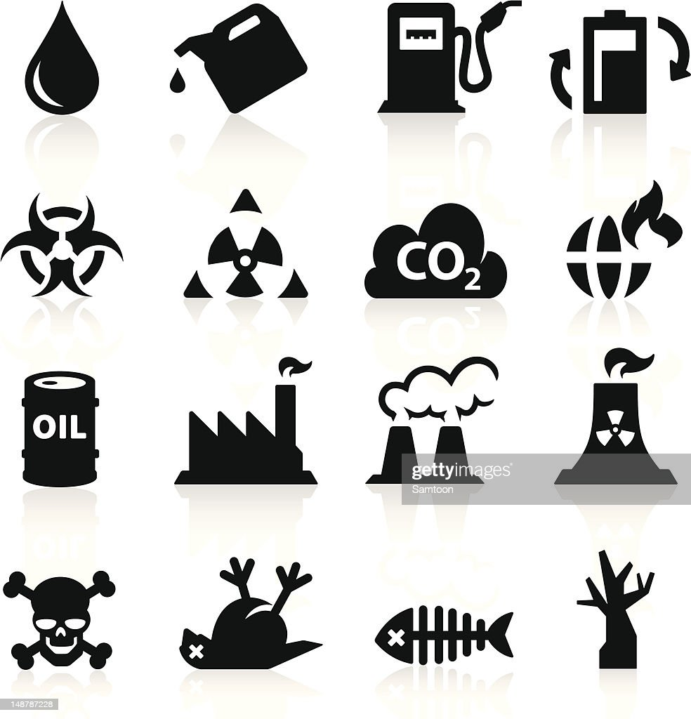 Different black-and-white pollution icons