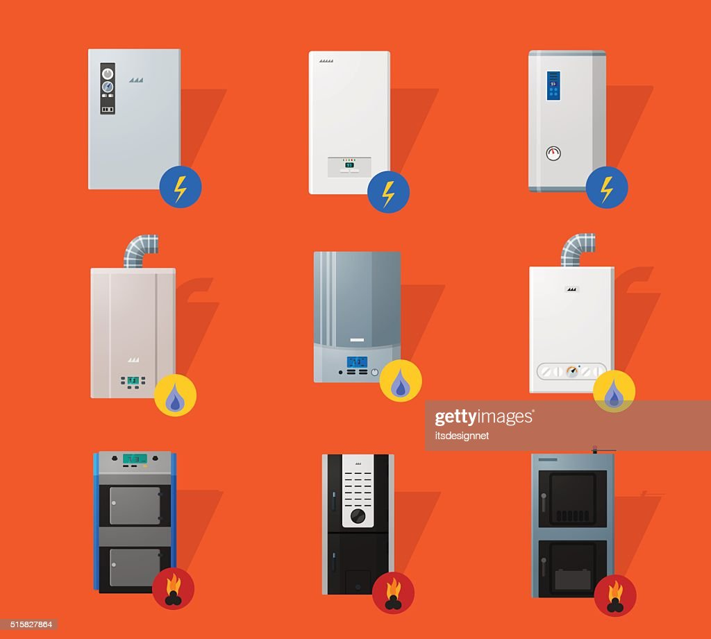 Different boilers flat icons