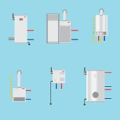 Different boilers icons set. Flat style.