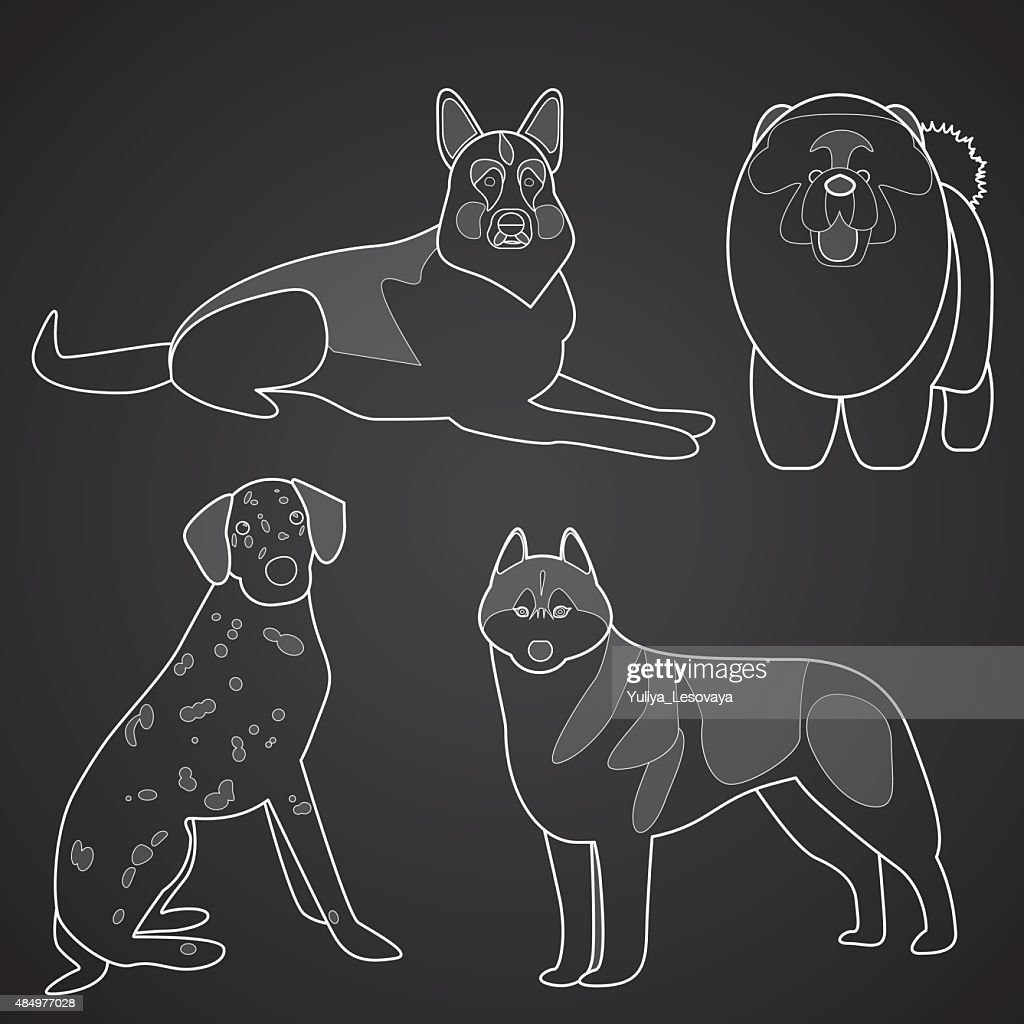 Different breeds of dogs in linear style. Part 2