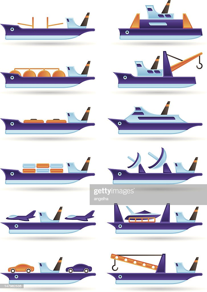 Different cargo ships icons set