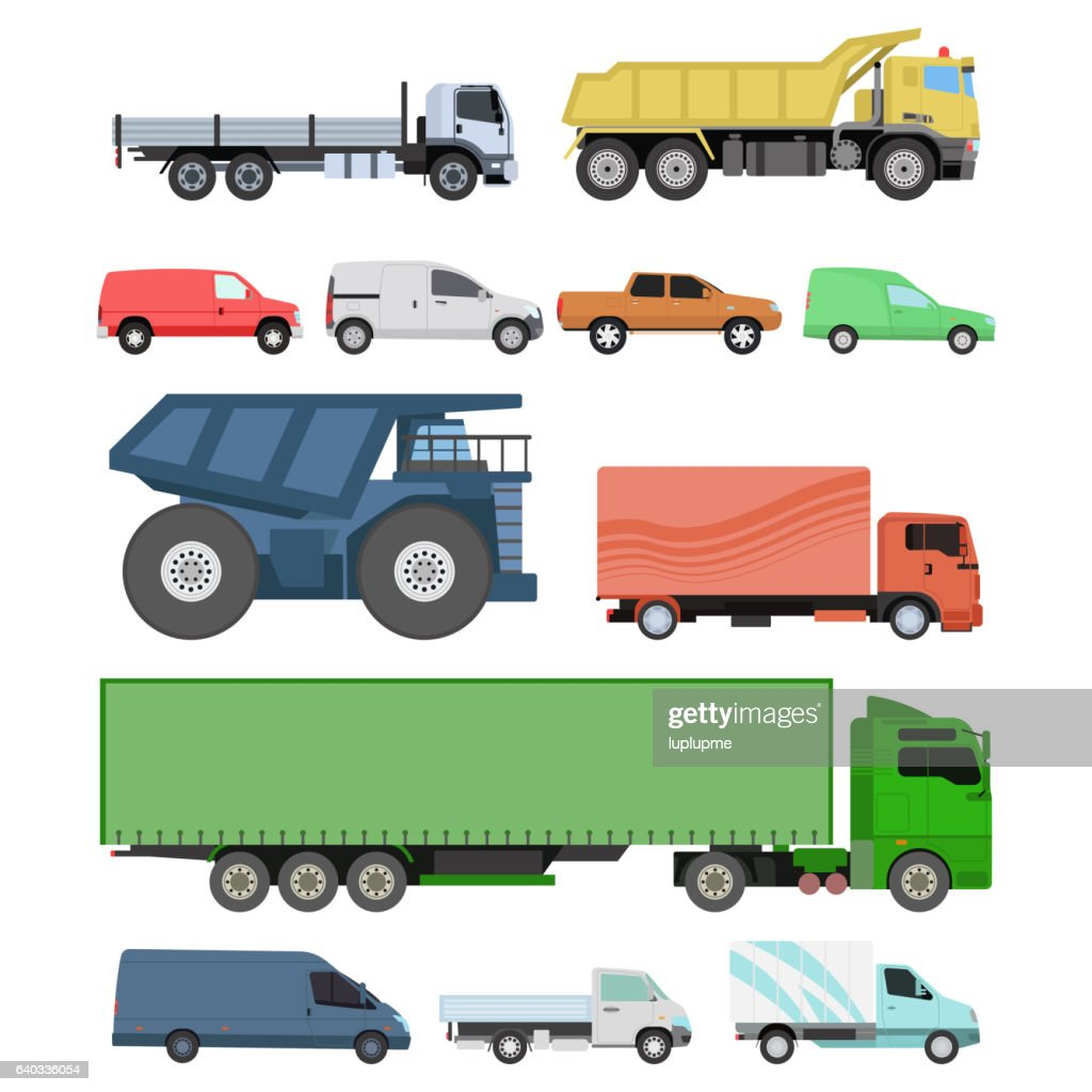 Different cars transport vector set.