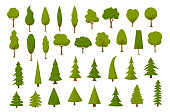 different cartoon park forest pine fir trees set