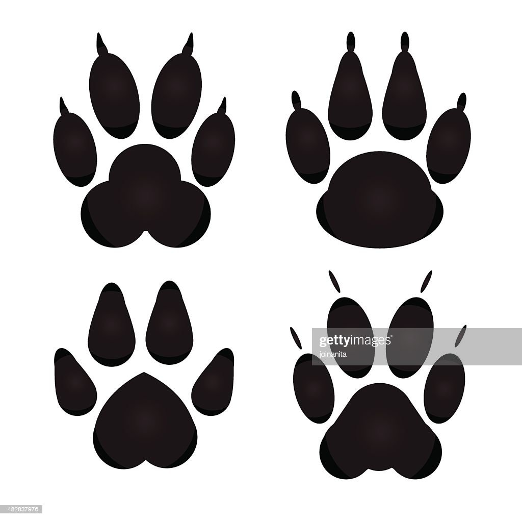 Different cat, dog Paw Prints