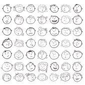 Different children faces cartoon