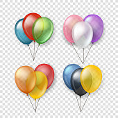 Different color flying balloon groups. Vector clipart isolated on transparent background