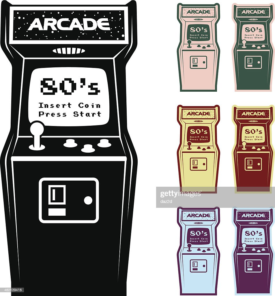 Different Color Options Of Video Arcade Machine : stock illustration