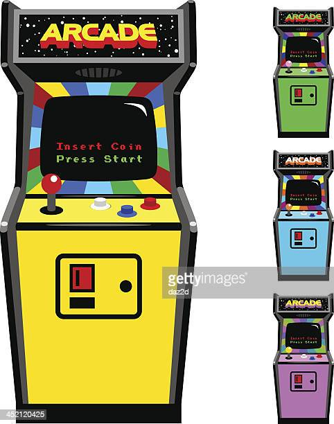 different color options of video game arcade cabinet - cabinet stock illustrations, clip art, cartoons, & icons